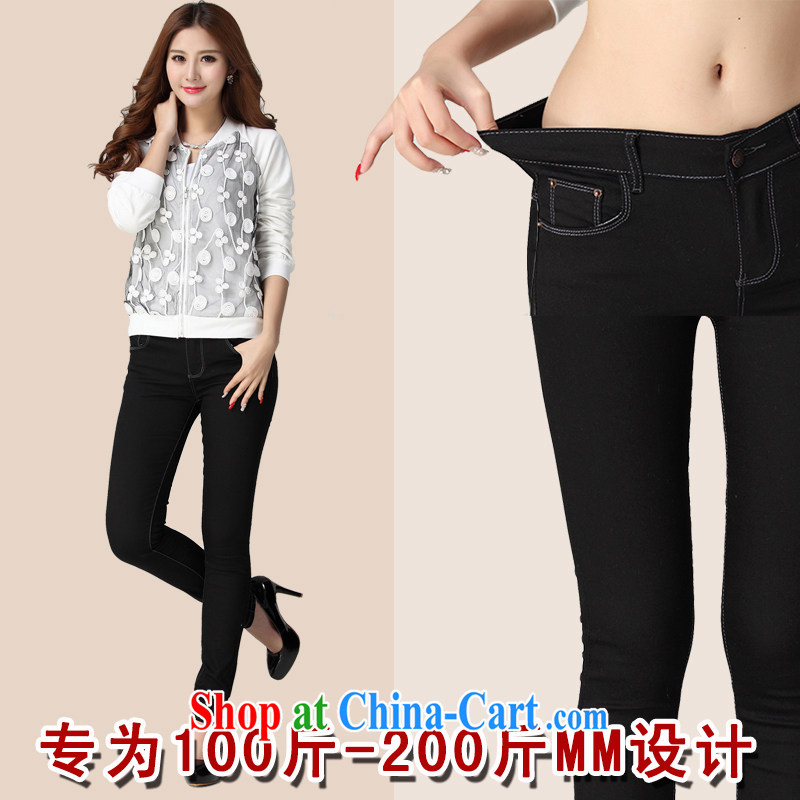 Land is still the Yi 2015 spring new Korean version of the greater code dress the FAT and FAT MM graphics thin fat people dress 100 ground spring beauty jeans castor pants black 5 XL
