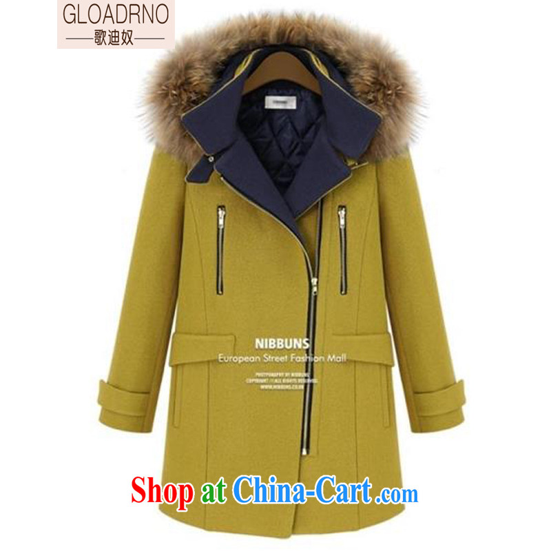 Song's slave 2014 Winter Olympics, the code female double-cap-Nagymaros for thick, long fleece jacket is 60,377 yellow S