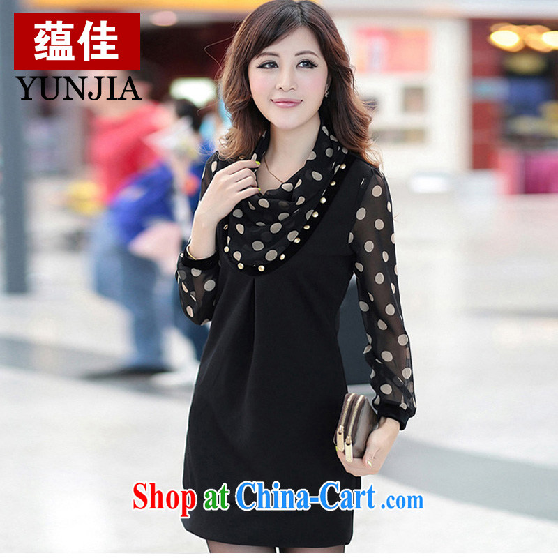 Well-being, the 2014 is indeed increasing, female Korean snow woven wave point stamp stacks for long-sleeved the hem graphics thin dresses larger graphics thin black 7 XL