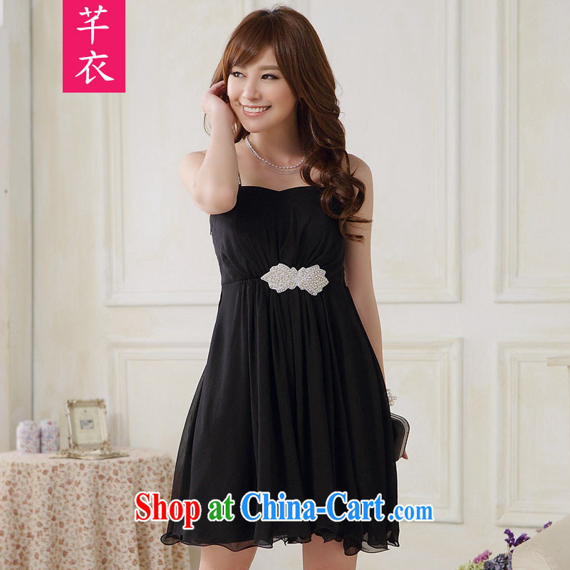 Constitution Yi Korean XL girls 2015 new stylish appointments Click shoulder sexy light drill single shoulder dress mm thick skirt in banquet focus dress black 3 XL 160 - 180 jack