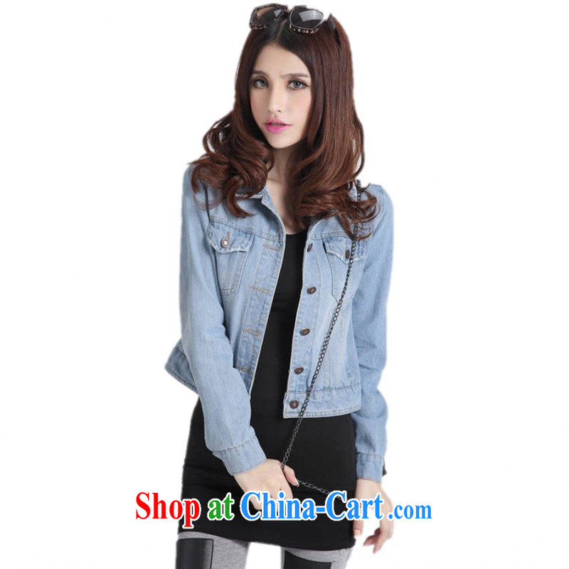 Package e-mail delivery 2015 spring new Korean version the ventricular hypertrophy, denim jacket graphics thin short Cape long-sleeved light jacket thick mm maximum code denim shirt light blue 4 XL