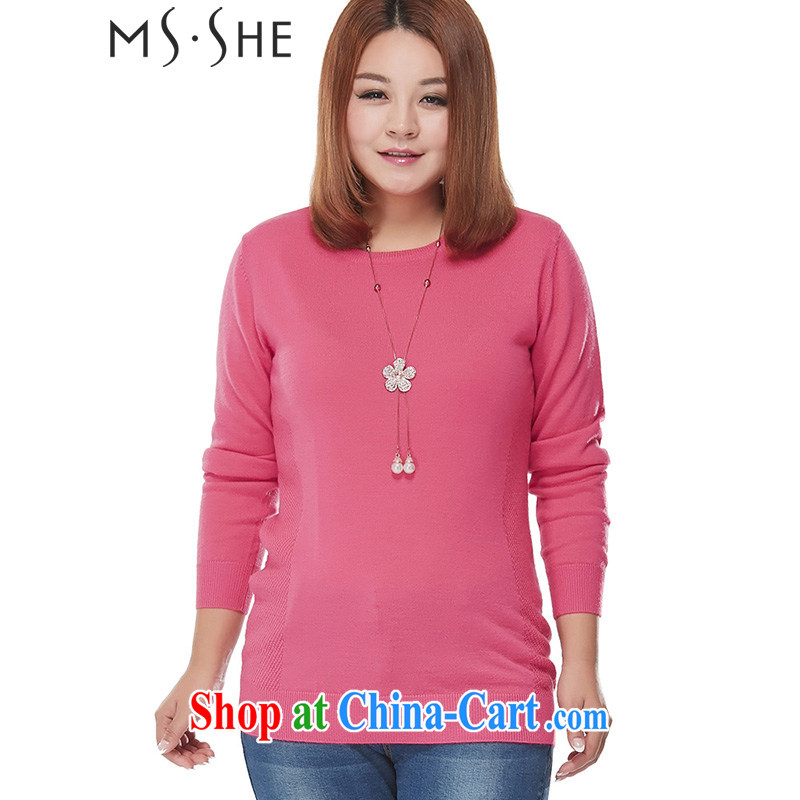 MSSHE XL ladies' the code Korean female stylish 100 ground Solid Color round-collar long-sleeved wool sweater knit-clearance 7437 red 4 XL
