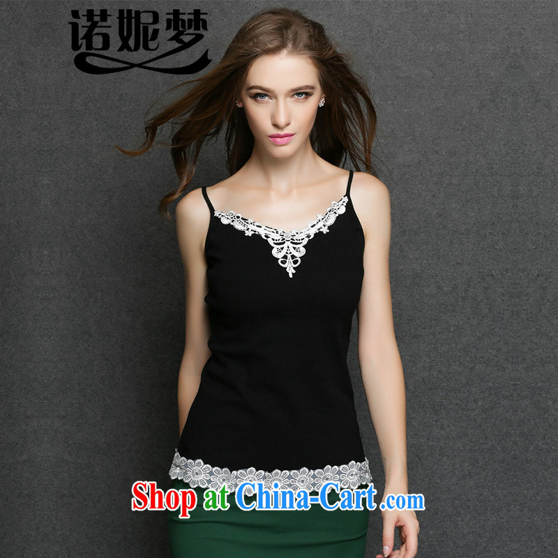 The Connie was a high-end European and American and indeed XL women mm thick 2015 spring new style lace stitching solid shirt strap vest women s 3094 black XXXL