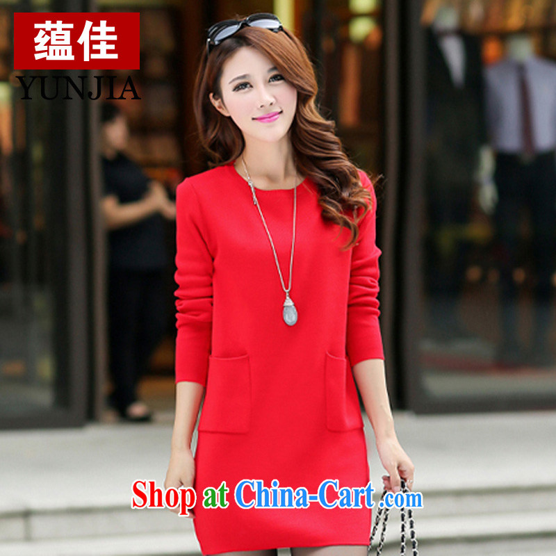Well-being, and indeed did increase women's clothing sweaters skirts red pocket decorated dresses long-sleeved round-collar solid skirt red 4 XL