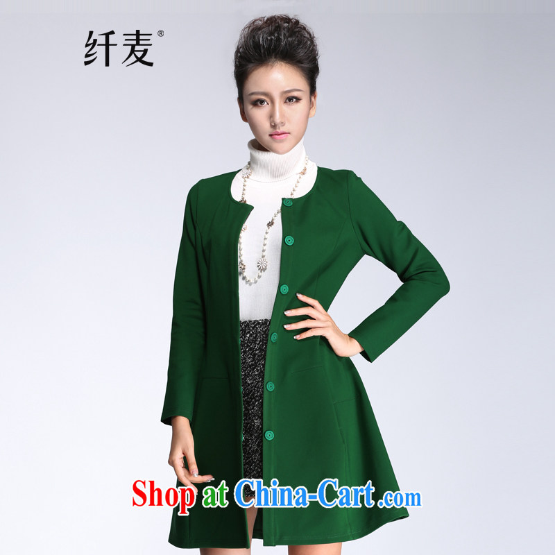 Slim, Mr Big, women winter 2014 with new thick mm fashion round collar relaxed, long jacket, green 944247076 6 XL