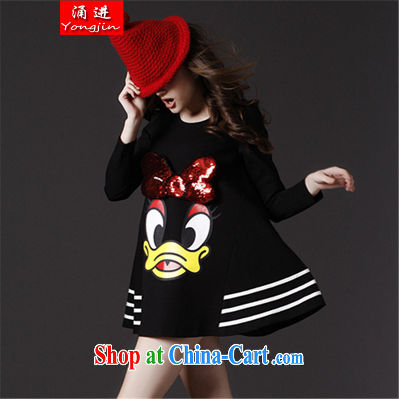 The 2015 spring new stylish long-sleeved cartoon bowtie A transformation, with loose the fat XL dresses 200 jack to wear black 9902 all code