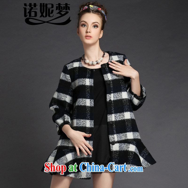 The Connie was a high-end European and American large code female 2014 autumn and winter with new, long hit color tartan wool coat is female jacket G 287 dark blue XXXXXL
