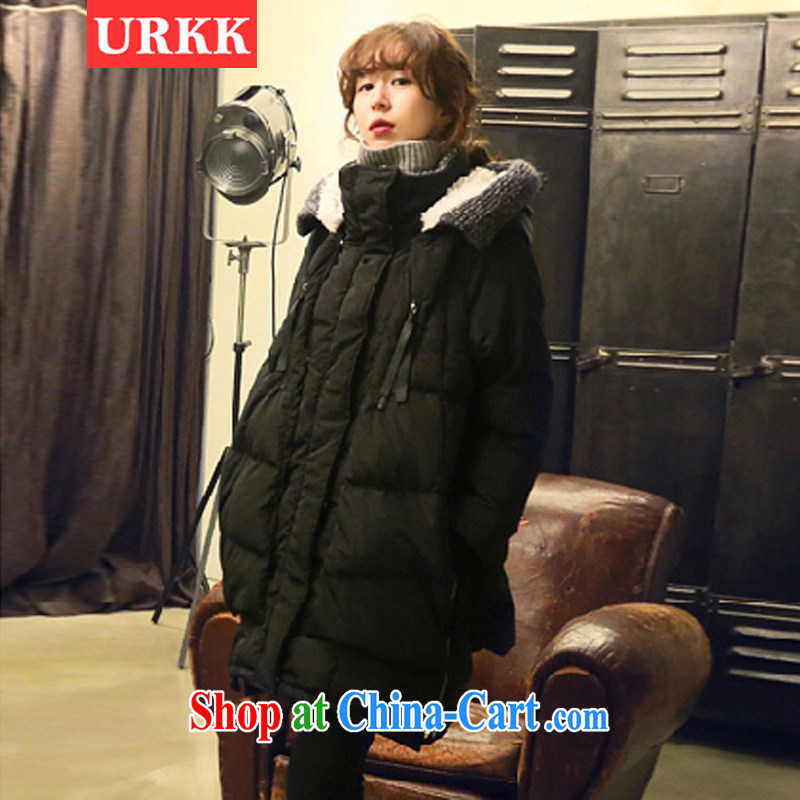 URKK 2014 winter clothing Korean version XL female military load, long cap jacket women black XXXL _165 - 180 _ jack