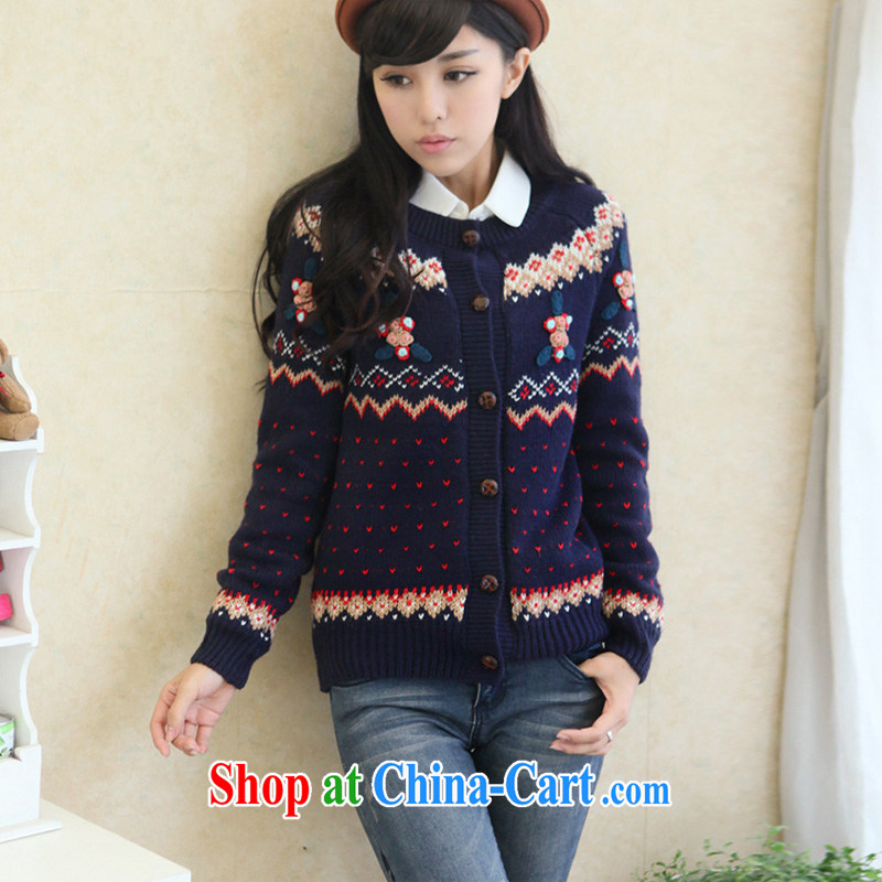 The 2015 code female spring, female-focused sister Korean autumn 200Jack knitted sweater cardigan thick mm sweater jacket and indeed increase blue 3 XL (chest of 107 - 116)
