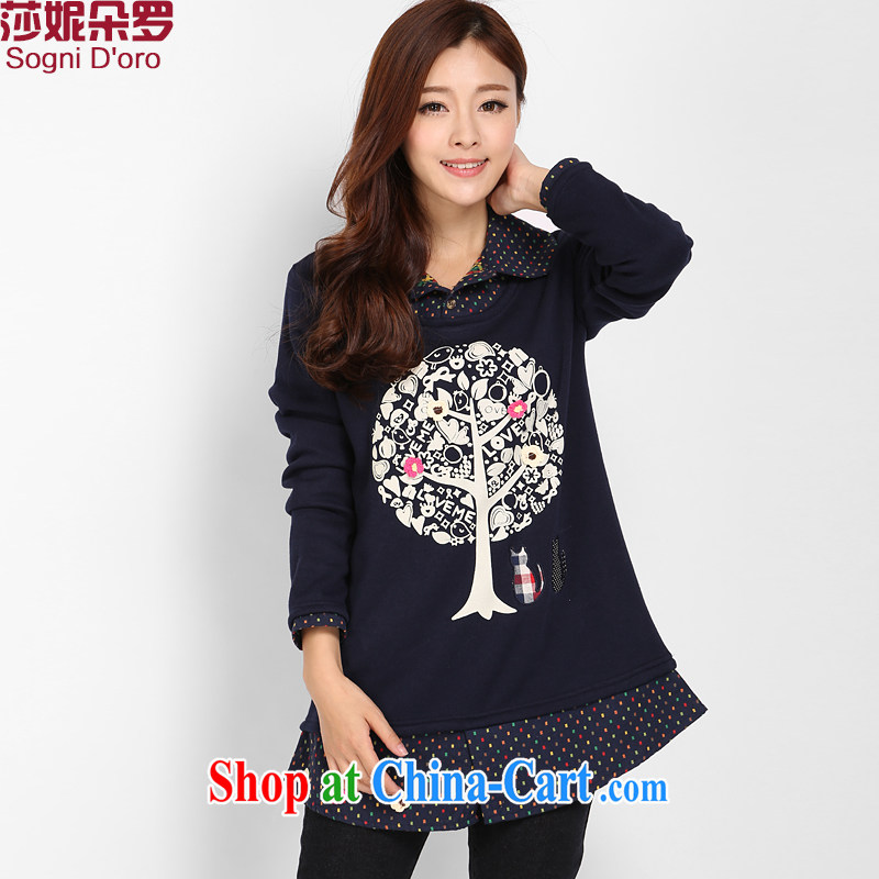 Laurie flower Luo, female winter the lint-free cloth thick solid T-shirt fat people video thin, increase the fat T-shirts female 3207 deep blue 4 XL