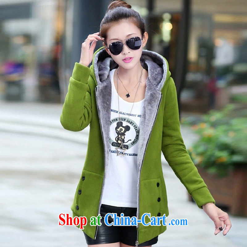 mary kay you new female Korean version the lint-free cloth, long, large, sweater jacket Girls fall_winter thick cardigan F 3010 green XXXXL