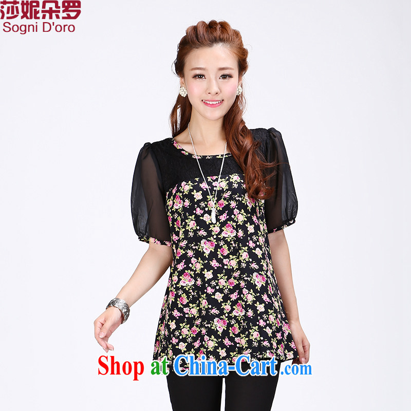 Laurie flower, fat, female video thin, T shirts women loose the code female Summer Snow woven shirts 6754 black 6 XL