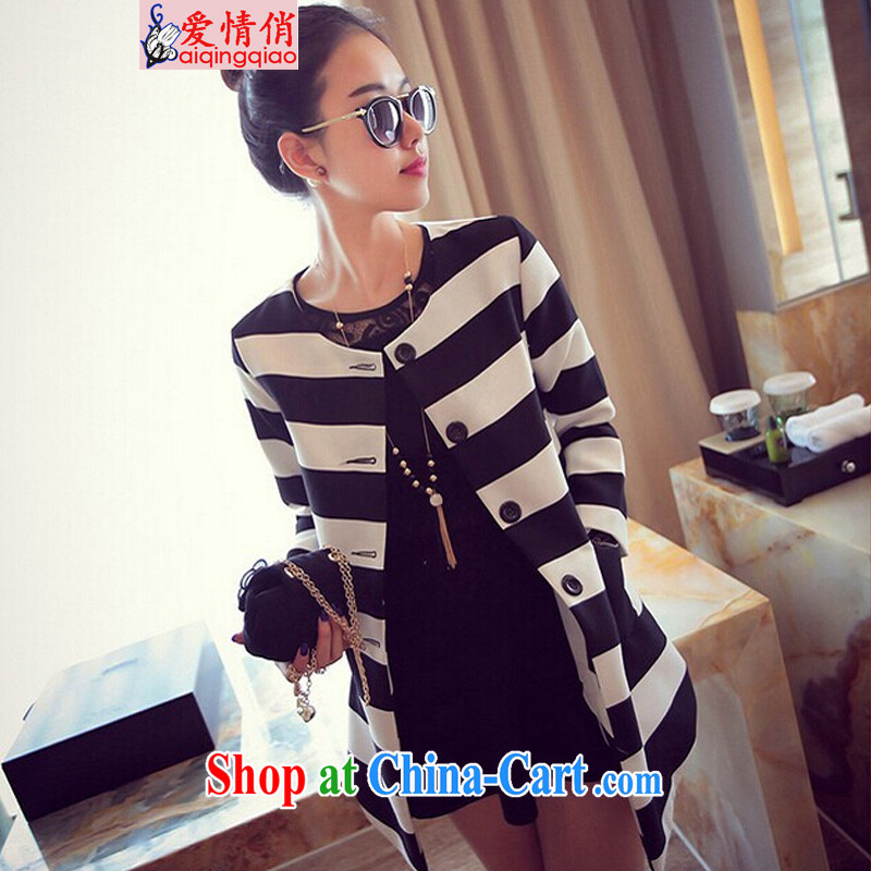 Love, 2014 autumn and winter, mm thick loose video thin long-sleeved striped plus fat XL wind jacket _6636 _picture color 4 XL