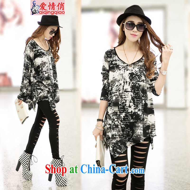 love to spring and autumn 2014 and is indeed more personalized female long stylish does not rule long-sleeved video thin T pension #6019 #picture color the code M