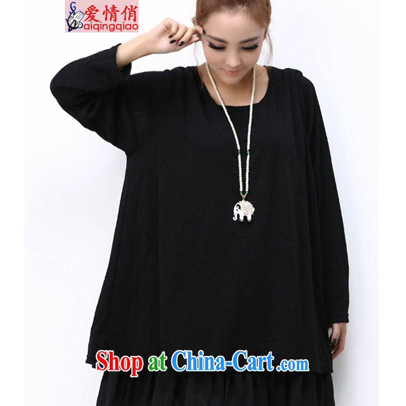 Love is the 2015 Code women mm thick Korean loose video thin and thick and long-sleeved dresses #6950 #black L