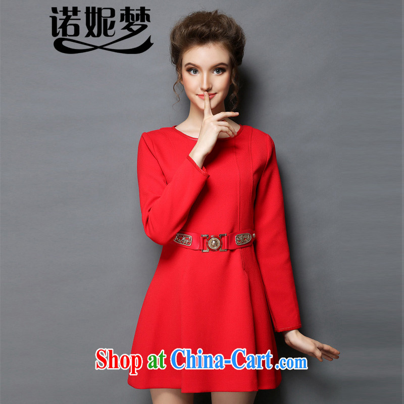 The Connie was a high-end European and American original winter dresses solid skirt and indeed XL women mm thick beauty graphics thin long-sleeved dresses + with belt G 615 red XXXXXL