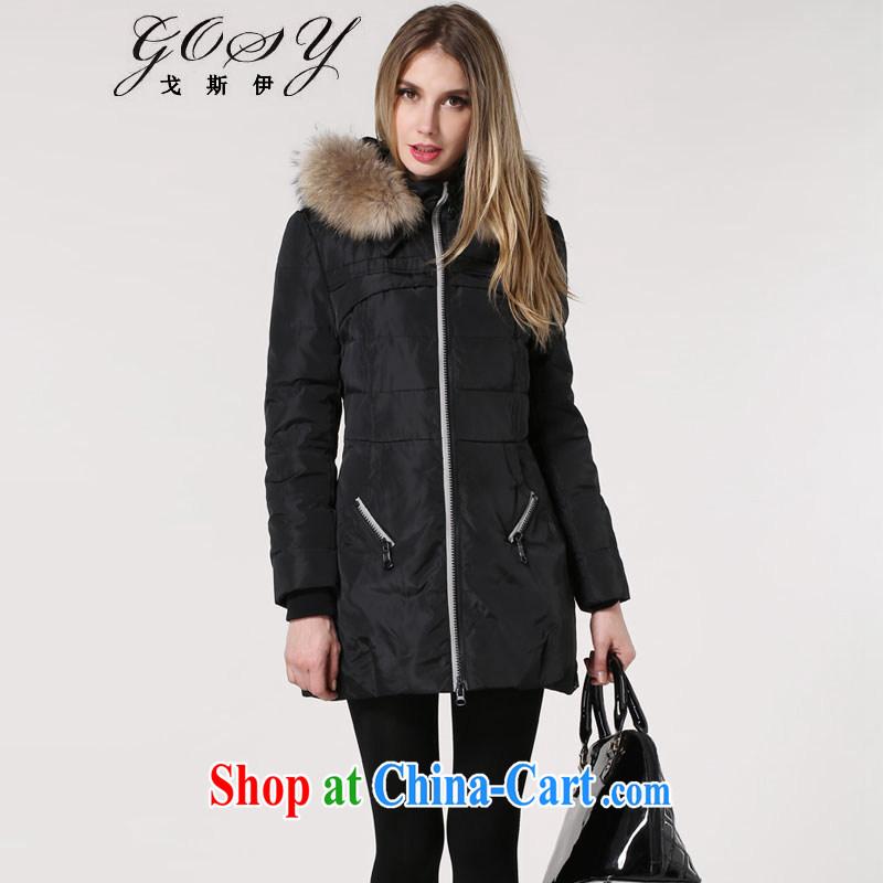 Al Gore, _GOSY_ 2014 winter clothing new, larger women's coats pure colors collar cap jacket black XXXL