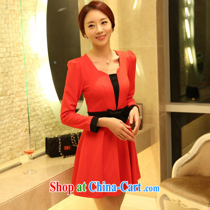 The package mail women's clothing dresses Korean OL commuter aura collision color bow tie-waist she dresses XL dresses skirt solid red the red XXXL approximately 165 - 180 jack