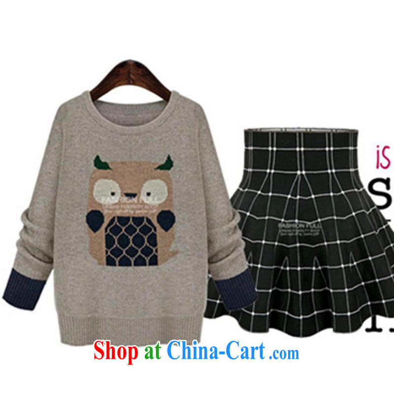 Package Mail Delivery high-quality sweaters in Europe wind spring XL knitted shirts, long Graphics thin beauty OL owl stamp thick sister solid light gray XL approximately 125 - 140 jack