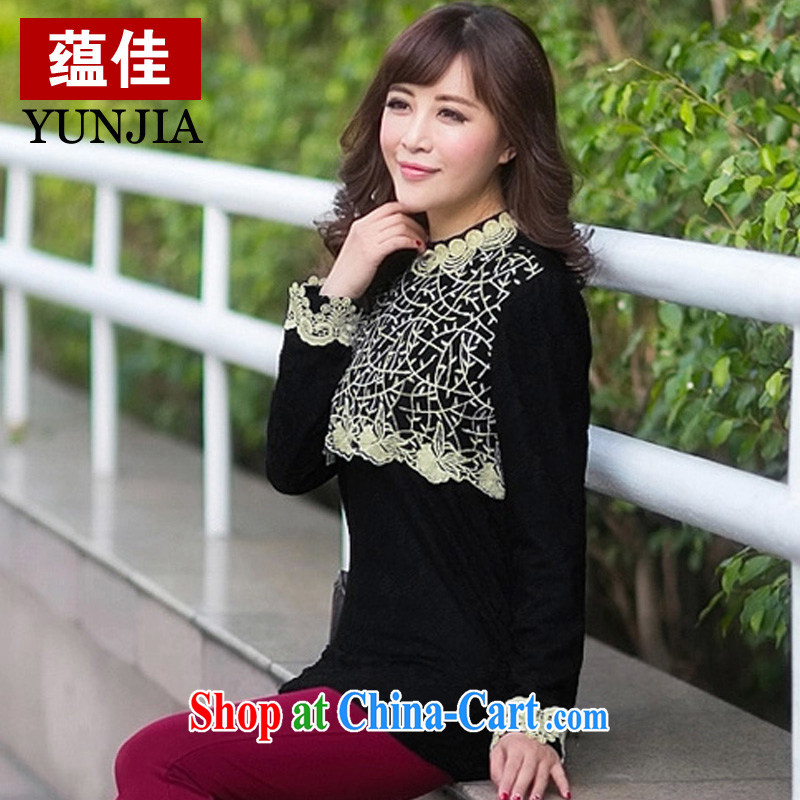 To better genuine Lace Embroidery half-height for the lint-free cloth thick solid shirt warm graphics thin Korean version is indeed the XL loose the code female black 5 XL
