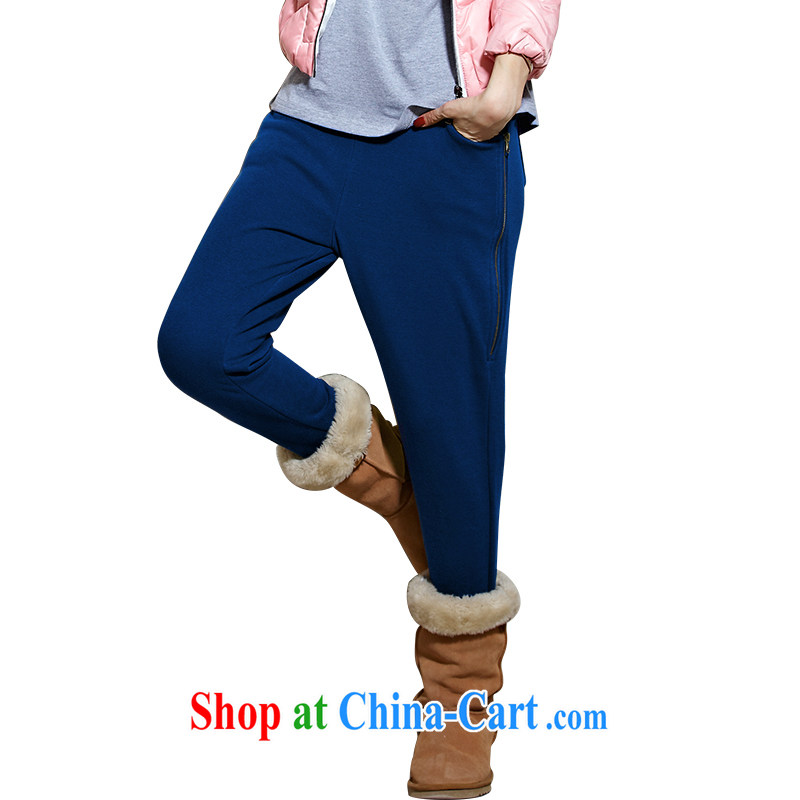 Well-being, the code female Trouser press 2014 new Korean version, Trouser Press girl winter clothes the lint-free cloth thicken the fat increase, female video thin Bonfrere looked, wearing a blue video thin 4 XL