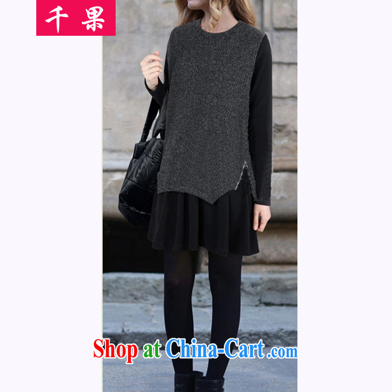 1000 fruit 2015 spring new Korean version of the greater code female thick MM the fat XL stylish graphics thin solid skirt in Europe and about two-piece dresses dark gray XXXXXL