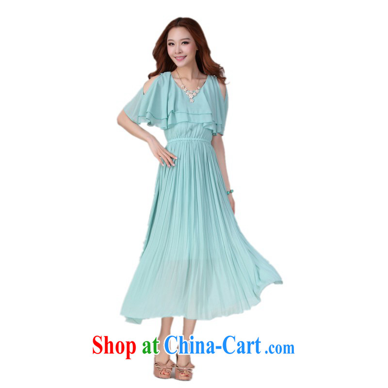 The delivery package mail as soon as possible is the XL stylish beach skirt Korean bare shoulders flouncing round-collar short-sleeve snow woven 100 hem skirts large graphics thin holiday dress light blue 4 XL