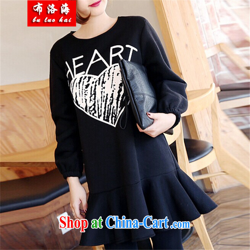 The sea 2015 spring new European version, long, cotton and the obesity-mm waist graphics thin larger women's clothing dresses girls T-shirt 8282 black XXXL_165 - 200 jack