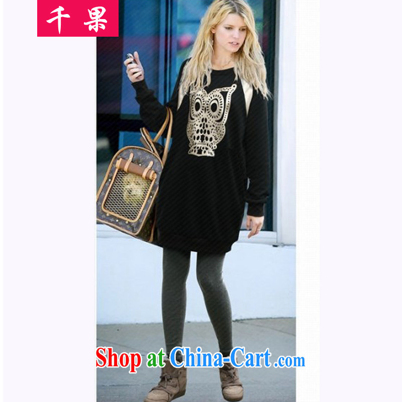 1000 fruit King, female new 2015 spring loaded in Europe and long solid long-sleeved T-shirt thick mm stamp round-collar-Korean loose video thin sweater black XXXXXL