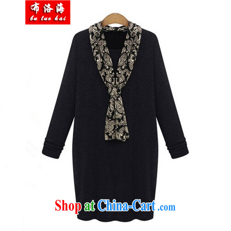 The sea 2014 winter new European version the lint-free cloth thick-heating quality package and the Code women is the long, long-sleeved solid dress 22 black XXXXXL/175 - 210 jack