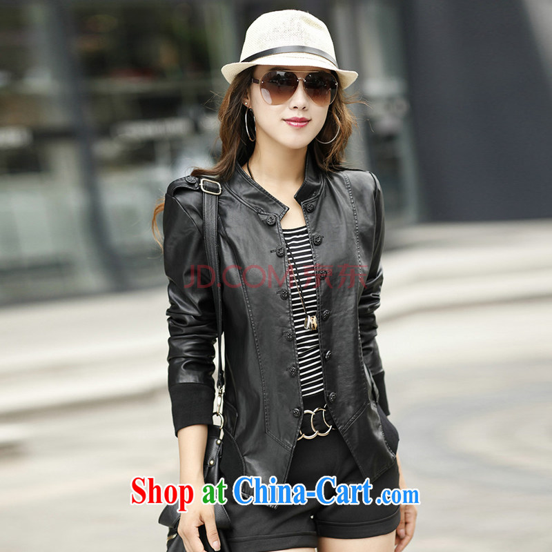 2015 and stylish autumn and winter clothing Korean XL mm thick girls long-sleeved beauty graphics thin leather jacket PU leather jacket black _not cotton_ XXXL