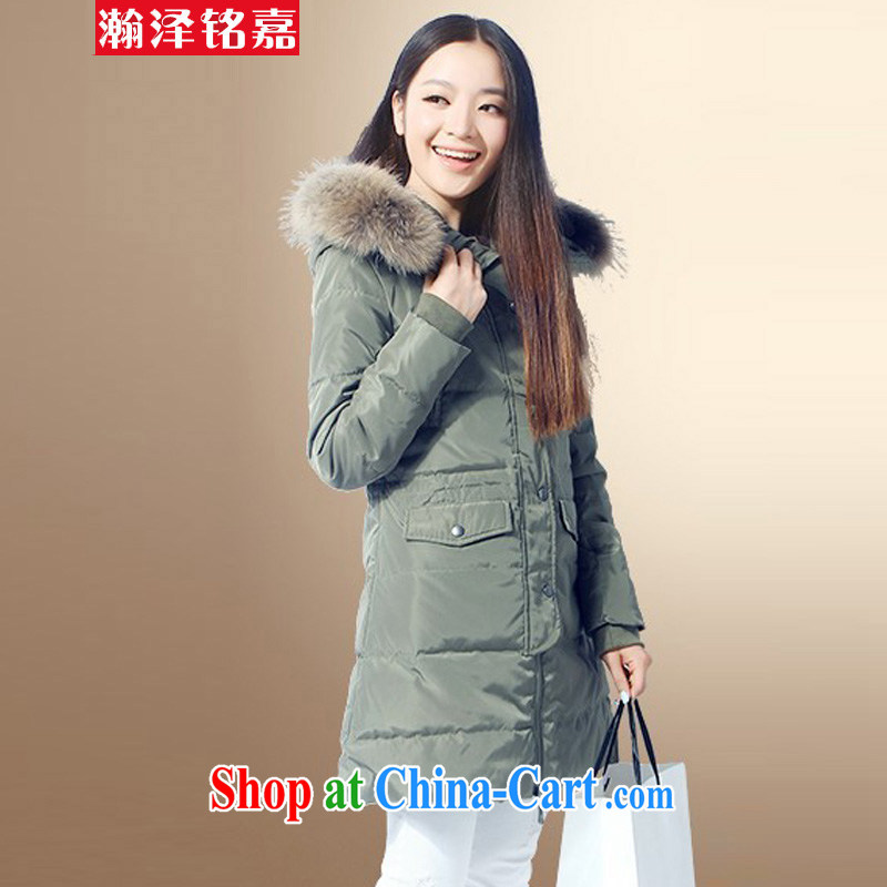 Han-taek-MING JIA 2014 winter clothing new XL female Korean edition thickness, cap jacket army green 6 XL