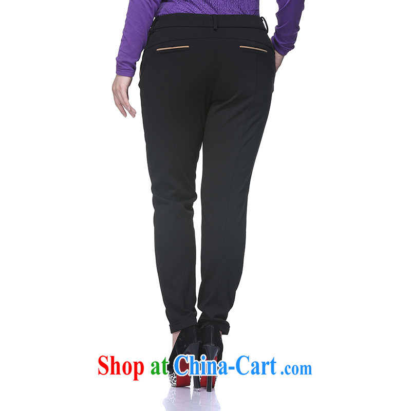 Slim LI Sau 2014 autumn and winter new larger female fashion hit color reference and stretch pencil trousers castor pants pants trousers Q 6658 black XL