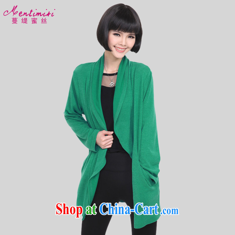 Mephidross has long honey, and indeed increase, female fat mm spring 2015 new Korean version, long, long-sleeved knitted sweater jacket 5206 green code 5 200 XL about Jack