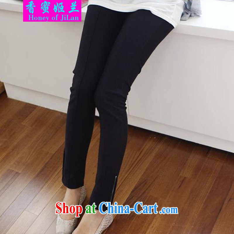 Xiang Mihu-hee, 2014 autumn and winter new pregnant women trousers Cotton High pop-up Center Line side zip black XL