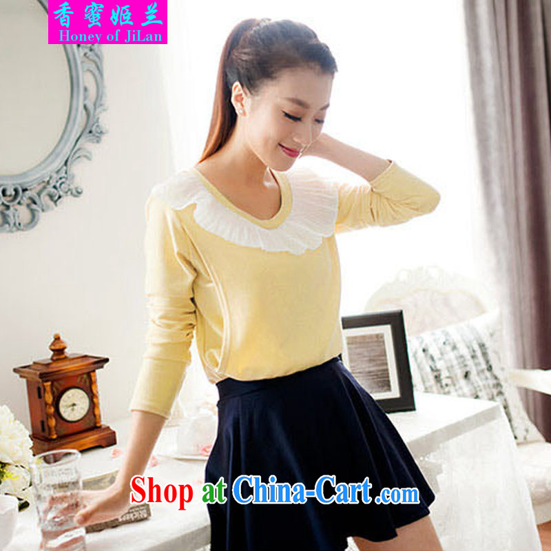 Fragrant honey-hee, 2014 Stylish spring solid out lace breast-feeding and clothing home feed T-shirt _3301 apricot L