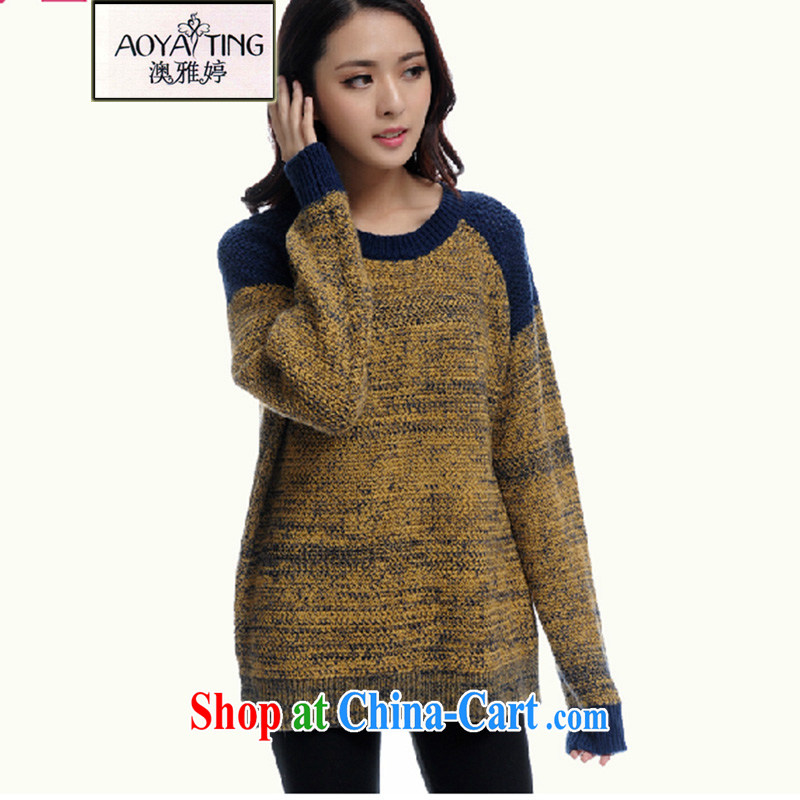 o Ya-ting 2015 Spring and Autumn and the new, and indeed increase, female loose sweater jacket thick sister knitted sweater HM 614 blue retro style 5 XL recommendations 175 - 200 jack