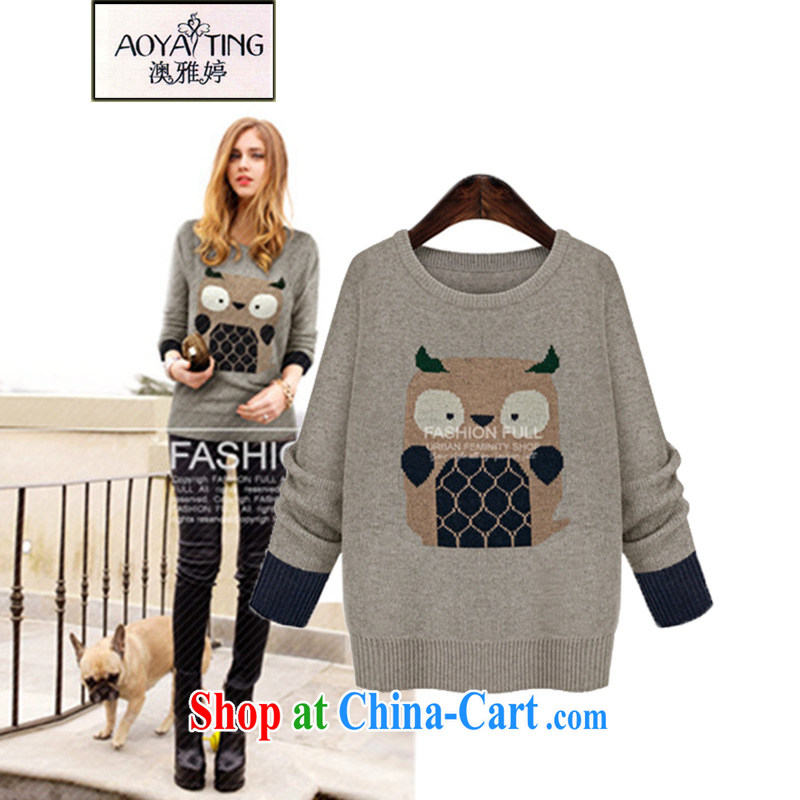 o Ya-ting 2014 autumn and winter new XL leisure woolen pullover Korean owl pattern solid knit-female H 961 light gray aura 5 XL recommendations 175 - 200 jack