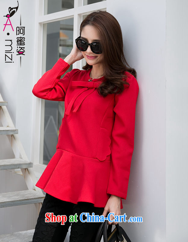 The honey beauty mm thick larger female sweet red mask poverty video thin bow tie-neck blouse dress beauty girl 9344 red XXXXL