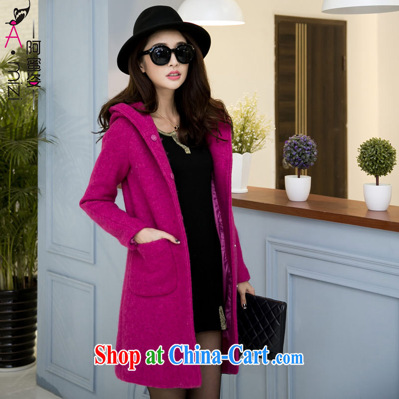 The honey and diverse thick mm maximum code female Korean autumn and winter, long hair, so the coat is a coat a female 9211 aubergine XL code recommendations 120 140 jack