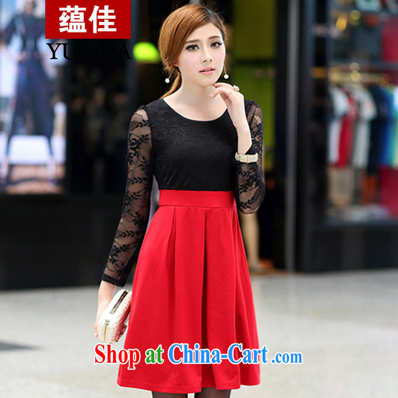 better-quality goods to support payment inspection 2015 the fat increase, female fat MM spring new lace stitching long-sleeved video thin dresses red 5 XL