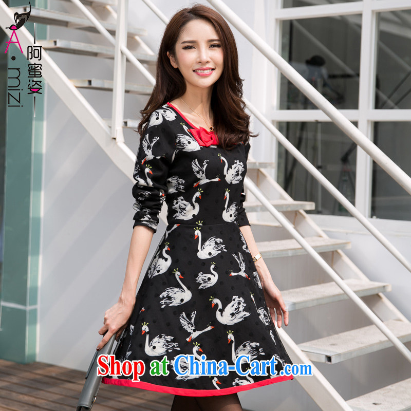 The honey and diverse expertise MM Stylish large code female Swan stamp butterfly knot graphics thin Web yarn A field long-sleeved dresses women 9339 black XXXXL