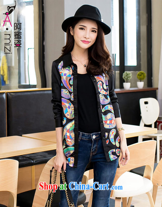 The honey beauty mm thick larger female personality Yin mei long-sleeved lapel cultivating graphics thin stamp snow woven shirts women 9078 black totem XXXXL