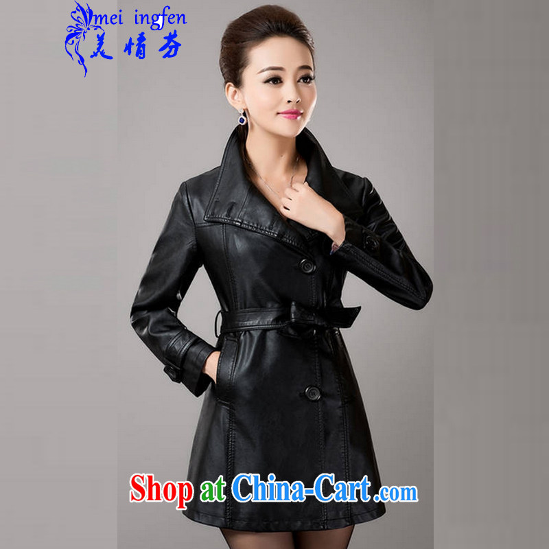 and the United States, Stephen 2014 autumn and winter with new wind jacket large, female, long leather jacket women 1393 _black L