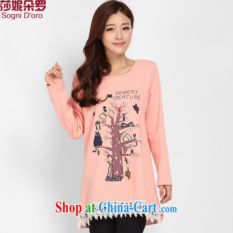 Laurie flower, fat people's congress, female T pension increase the obesity sister winter clothes thicken the lint-free video thin T-shirt girl 3219 bare pink 6 XL