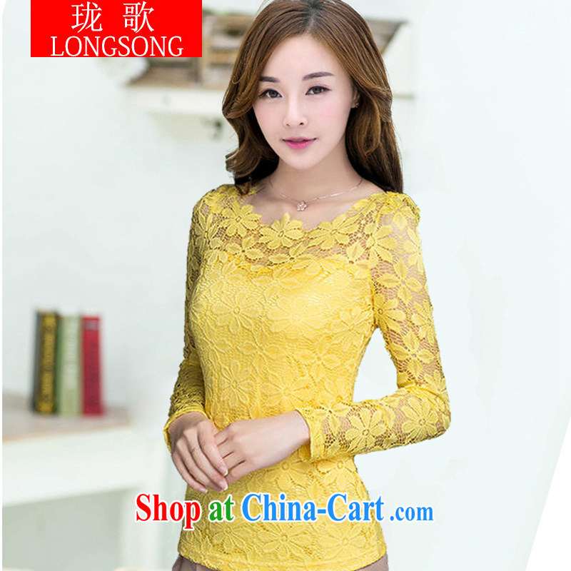 Vicky Ling Song 2014 winter clothes new and larger lace solid shirt girls thick winter, lint-free cloth and cultivating graphics thin thick mm solid color T-shirt, winter 1238 L yellow 6 XL