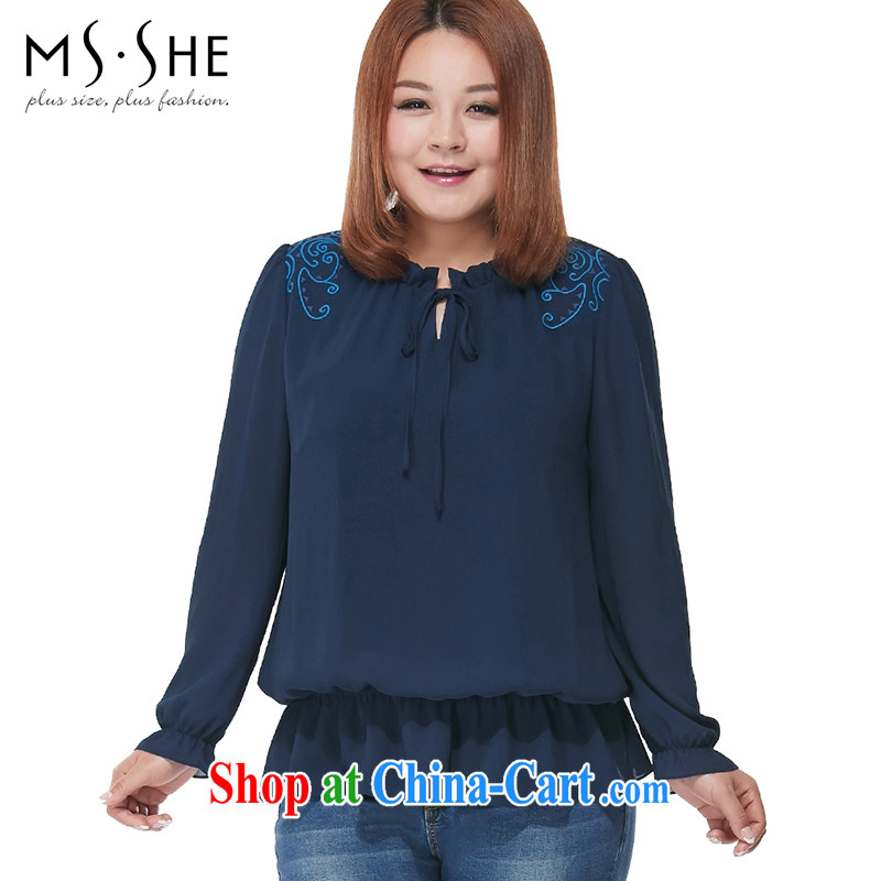 MsShe XL ladies' 2015 spring National wind flouncing long-sleeved snow woven shirts 2636 blue 6 XL