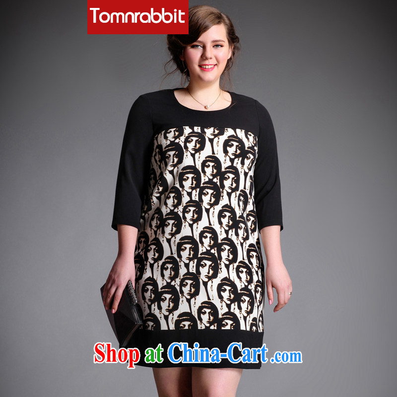 Tomnrabbit 2015 spring new European high-end thick sister larger female stamp stitching thick mm dresses picture color the code XL
