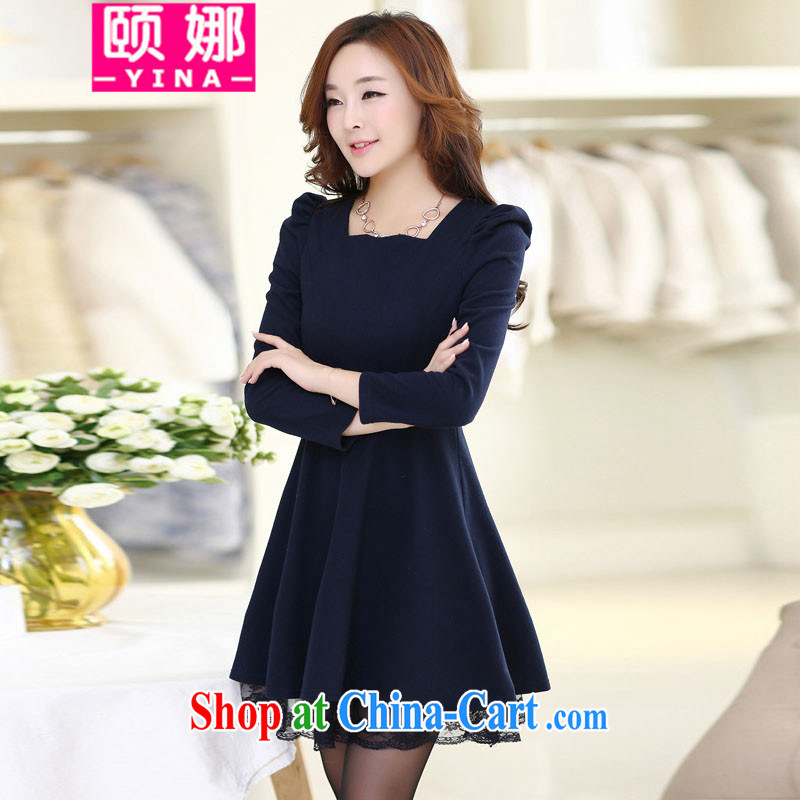 We have 2015 new Korean solid-colored hair beauty is the long-sleeved sweater, ladies dress female D 956 blue XXXL