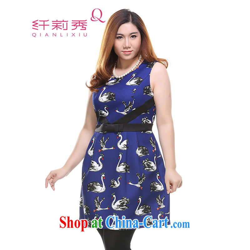 Slim LI Sau 2014 autumn and winter, the larger female elegant Swan stamp round-collar Bow Tie beauty sleeveless dresses vest skirt Q 7328 color blue 4 XL